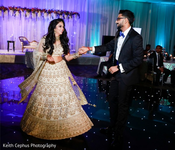 Indian bride and groom's first dance.