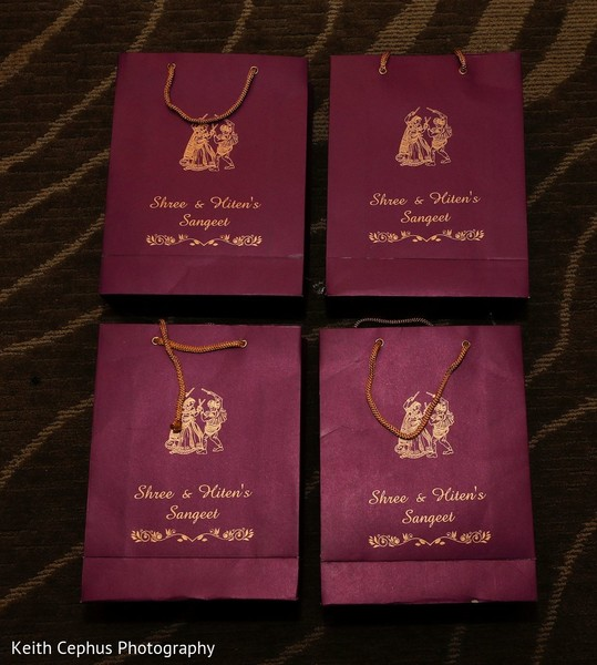 Personalized Indian sangeet paper bags capture.