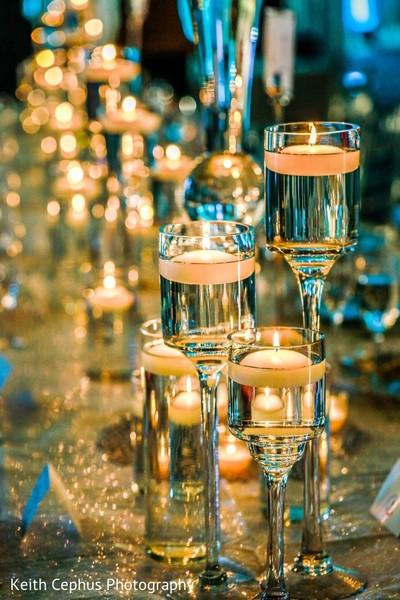 Closeup capture of Indian wedding candles decorations.