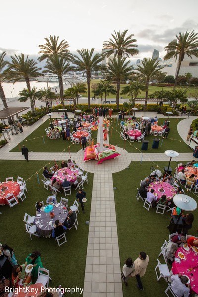 Incredible outdoors Indian pre-wedding table setup.