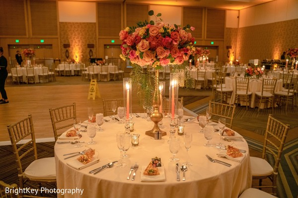 Magnificent Indian wedding reception table decoration.