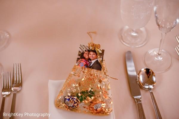 Closeup capture of Indian wedding reception favors.