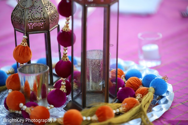Closerup capture of Indian wedding table decor.