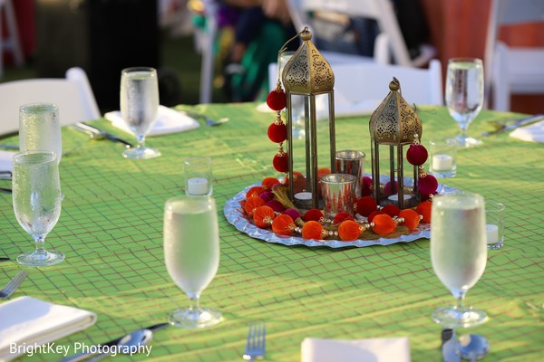 Elegant Indian pre-wedding table centerpiece decor.