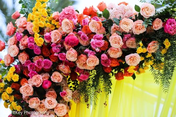 Stunning roses decoration for Indian wedding ceremony mandap.