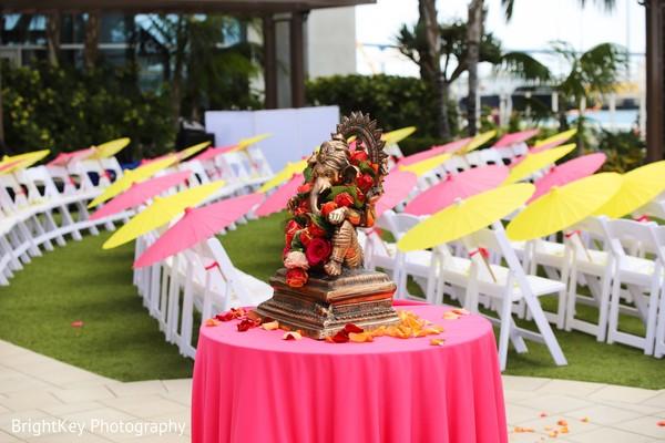 Dreamy Indian wedding ceremony Ganesha decor.