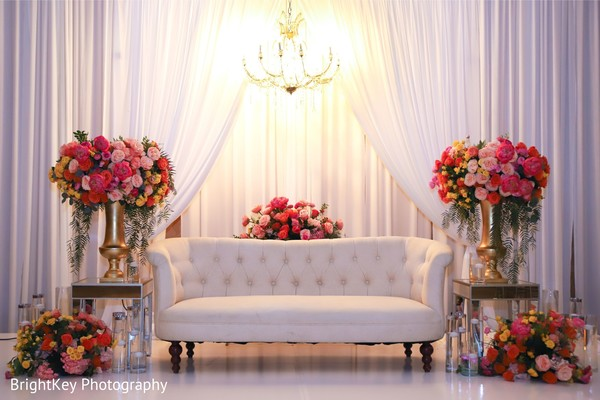Elegant Indian wedding reception stage decoration.
