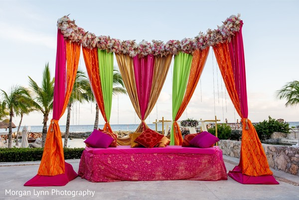 Incredible draping decor for sangeet.
