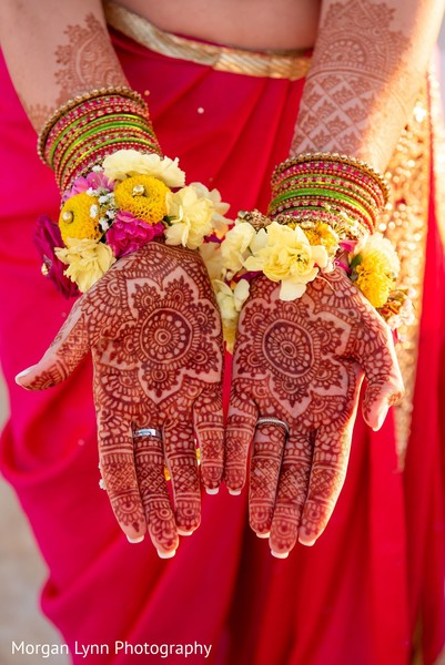 Closeup capture of Indian bridal henna art.