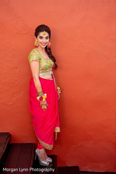 Impeccable Indian bride on her sangeet outfit.