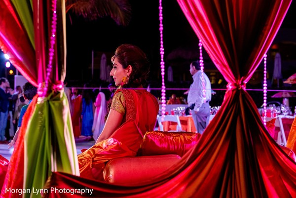 Glamorous Indian bride at her pre-wedding party.