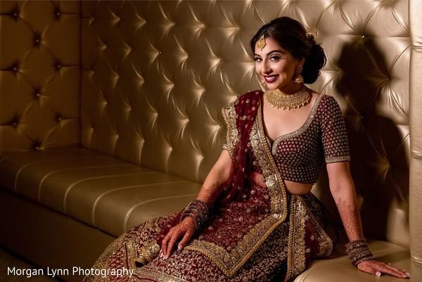 Indian bride on her sangeet lehenga.