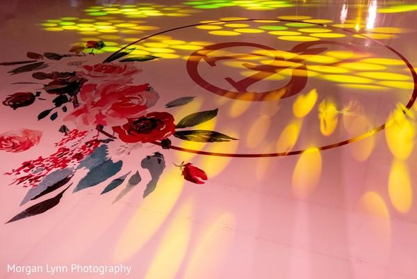 Personalized Indian wedding reception dance floor.
