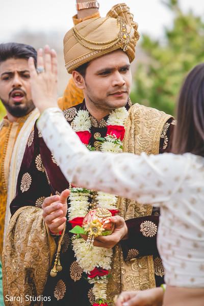 Indian groom during the baraat ritual celebration.