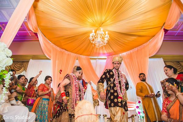 Indian bride and groom during the Saptapadi.