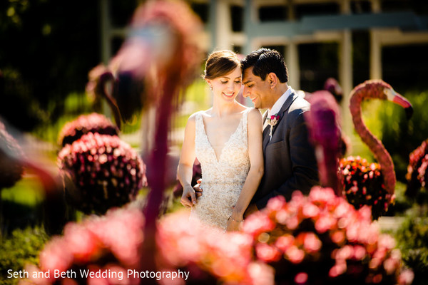 Romantic Indian bride and groom outdoors photo.
