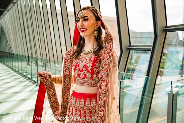 Indian bride on her ceremony attire.