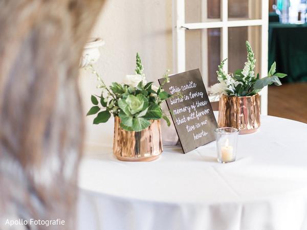 Elegant Indian wedding table flowers decorations.