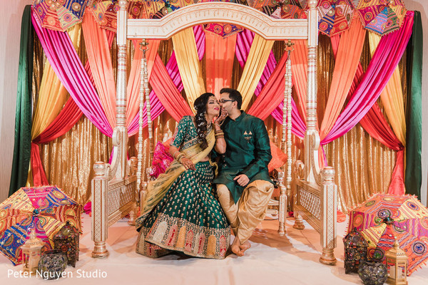 Indian bride and groom looking magical