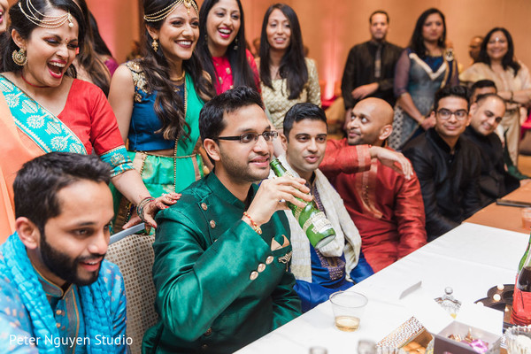 Indian groom with guests