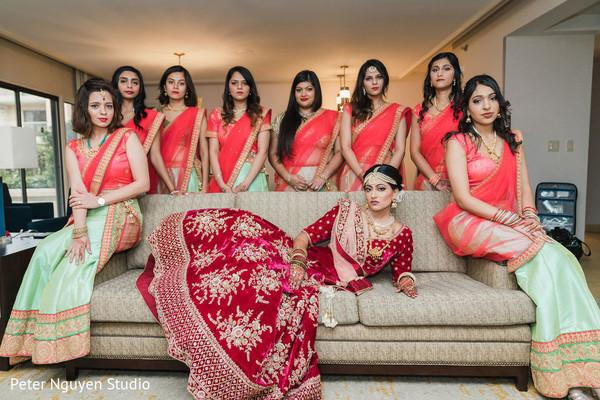Bride posing with the beautiful Maharanis