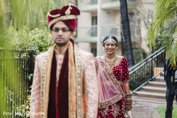 Indian bride and groom about to meet