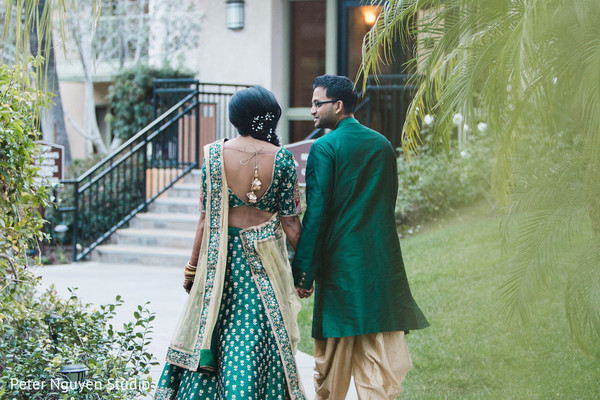 Maharani and Indian groom walking