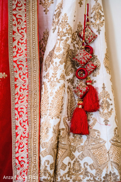Closeup capture of Indian bridal lehengas embroidery.
