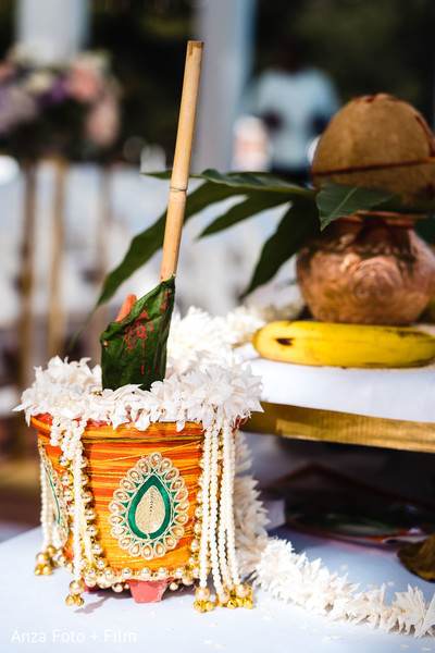 Indian wedding ceremony ritual items photo.