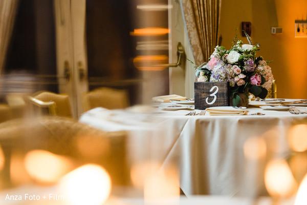 Indian wedding reception table decoration.