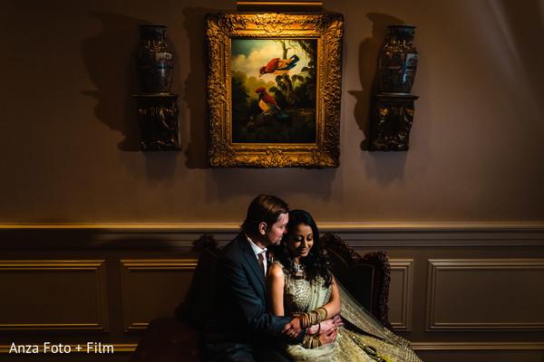 Romantic Indian couple at reception capture.
