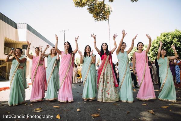 Indian bridesmaids outdoors photo.