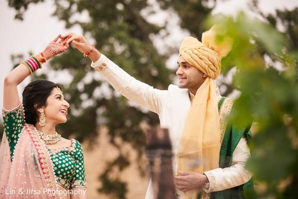 Tender Indian bride and groom.