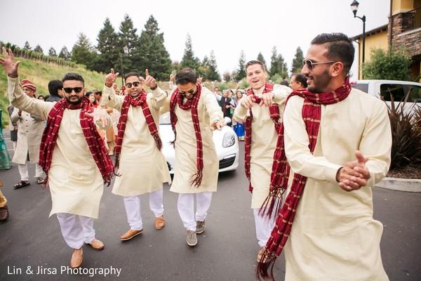 Joyful Indian groomsmen.