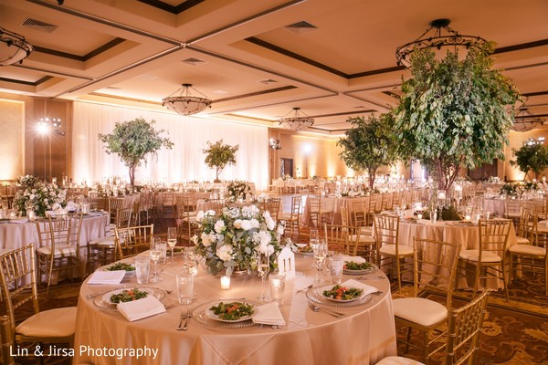 Elegant Indian wedding reception decor.