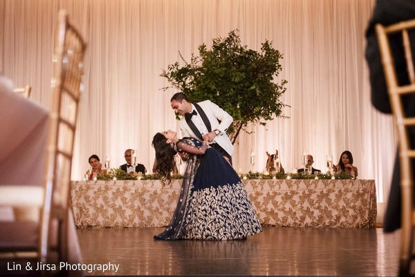 Graceful Indian bride and groom's dance.