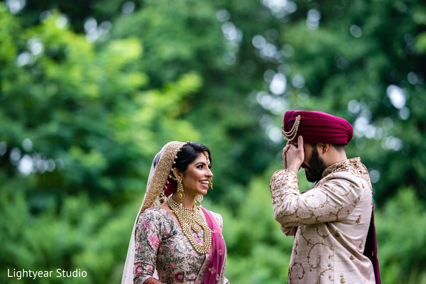 Indian bride and groom prior to the ceremony