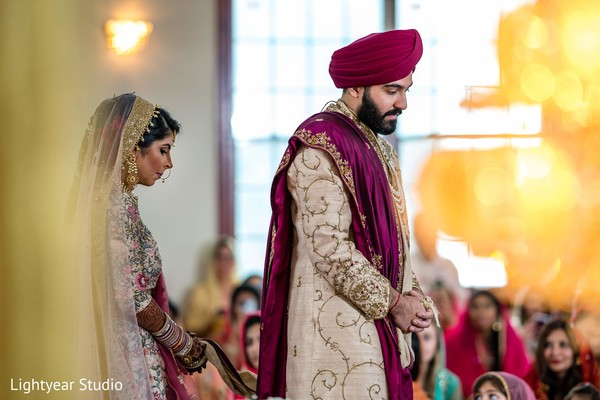 Maharani and Indian groom during the ceremony