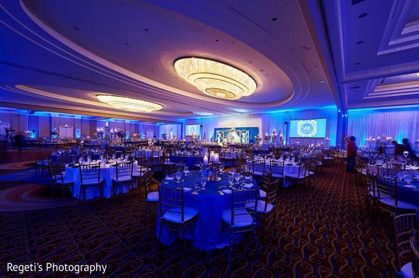 Vibrant Indian wedding reception venue.