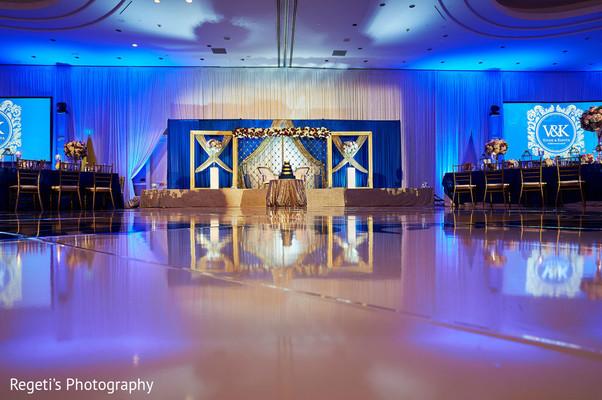 Striking Indian wedding reception hall.