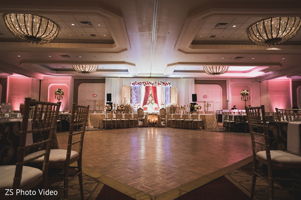 Striking Indian wedding reception hall.