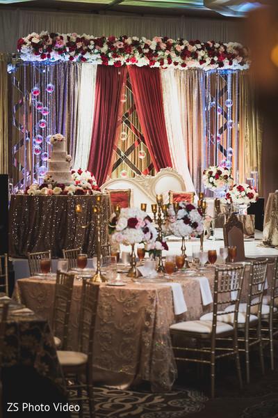 Glamorous Indian wedding reception decor.