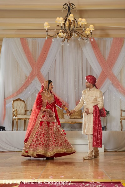 Indian bride and groom looking spectacular