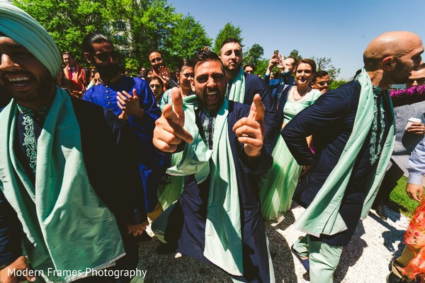 Incredible Indian groomsmen baraat procession performance.