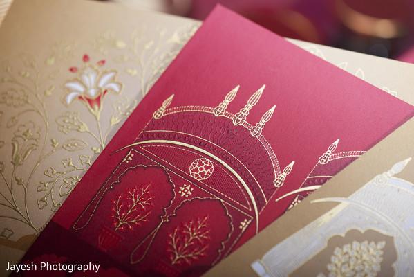 Closeup capture of Indian wedding invitation.