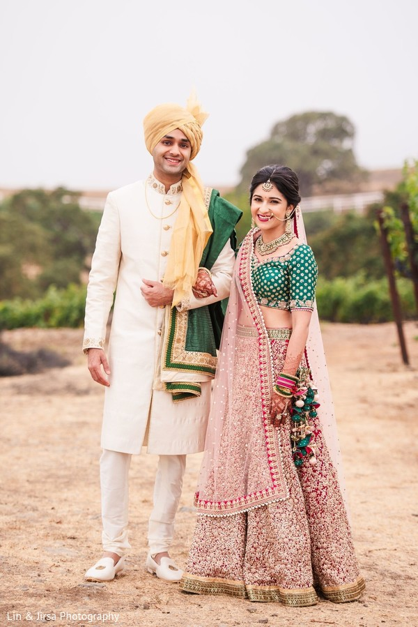 Ravishing Indian bride and groom ceremony outfits.