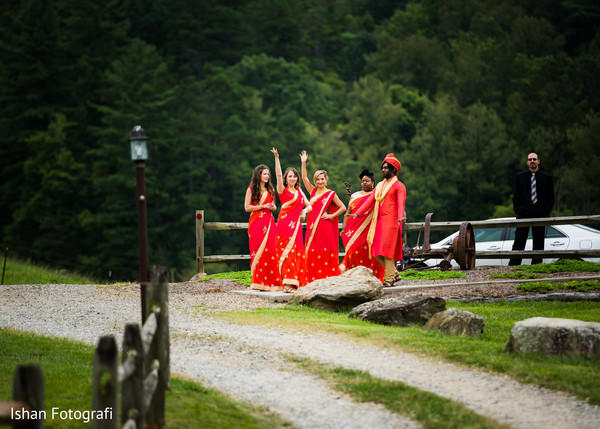 Indian bridesmaids at the baraat location.