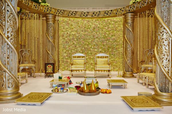 Golden Crystal Wedding Mandap decor.