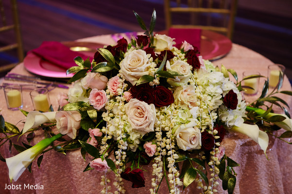 Magnificent Indian wedding table flowers.