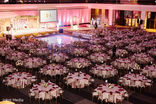 Indian wedding stage and dancefloor setup.